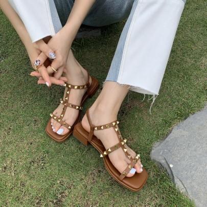 Fashion Studded Decor Flat Sandals NSHU56628