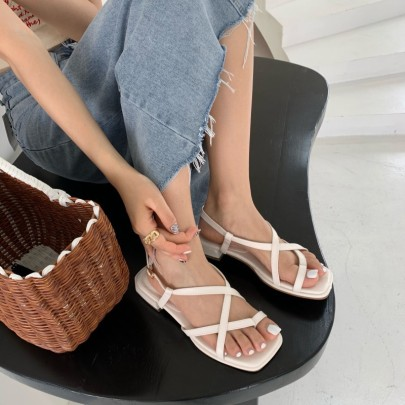 Style Square Head Thin Strap Open Toe Sandals  NSHU56629