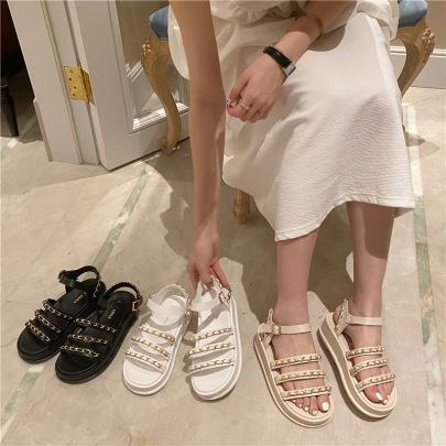 Fashion Chain Decor Flat Sandals NSHU56630
