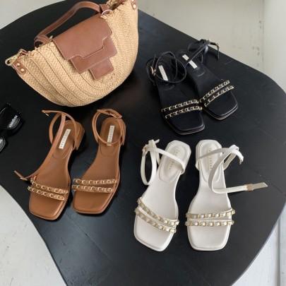 Golden Chain Dedcor Ankle Strap Flat Sandals NSHU56631