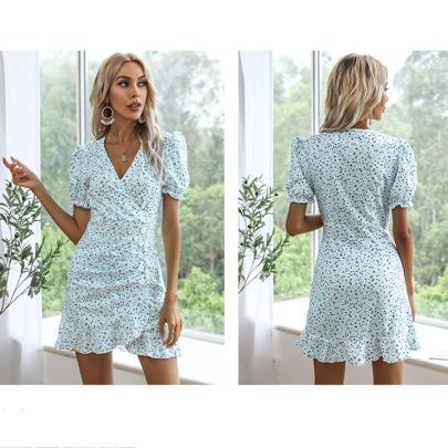 Spring And Summer New Puff Sleeve Chiffon Floral Irregular Dress NSYIS56808
