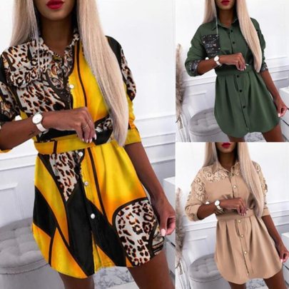 Spring And Autumn Fashion Long Sleeve Stitching Leopard Print Shirt Dress NSSUO56802