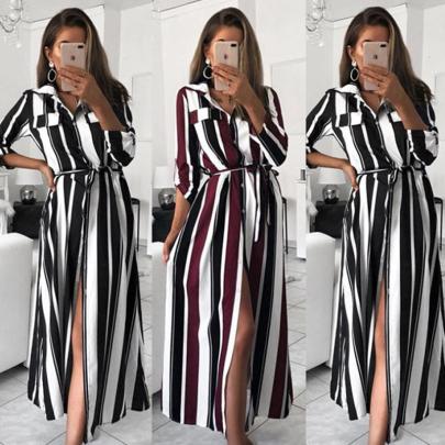 Fall/Winter Fashion Lapel Stripe Long Sleeve Lace Slit Dress NSSUO56793
