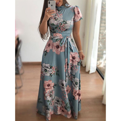 Spring And Summer New Casual Printed Lace Long Skirt  NSYIS56780