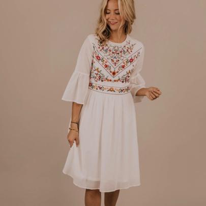 Summer Fashion Cotton Embroidered Round Neck Three-quarter Sleeve Dress NSJC56775