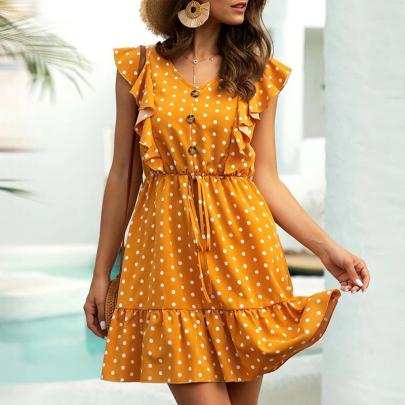 Summer Fashion Polka Dot Round Neck Butterfly Sleeve Ruffle Dress NSJC56774