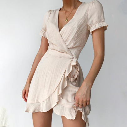 Summer Fashion V-neck Wrapped Chest Lace-up Solid Color Ruffle Dress NSJC56771