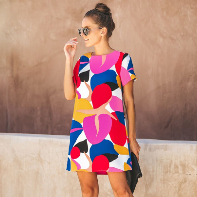 Summer New Round Neck Short Sleeve Stitching Print Short Dress NSJC56769