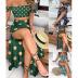 Printed Wrapped Tops Bifurcated Beach Skirt Two-piece Set NSYIS56743
