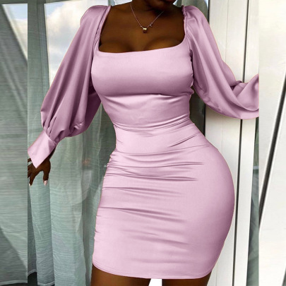 New Pure Color Puff Sleeve Slim Pack Hip Skirt  NSLAI56811