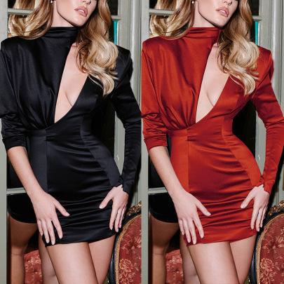 Spot Spring New Hot-selling Solid Color Round Neck Long-sleeved Slim Dress  NSLAI56812
