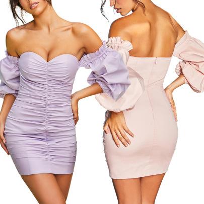 Spot Sexy One-shoulder Pleated Waist Thin Dress NSLAI56814