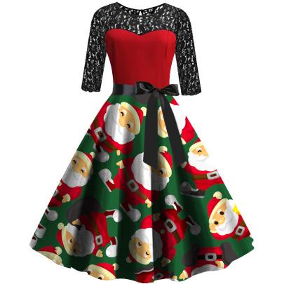 Autumn And Winter New Long-sleeved Lace Stitching Sexy Santa Print Dress NSLAI56817