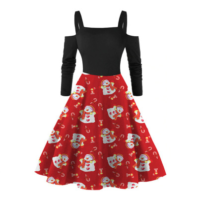 Autumn And Winter Sexy New Long-sleeved Red Printed Christmas Dress NSLAI56819