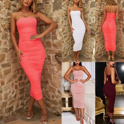 Summer Sexy Slim Mid-length Sleeveless Suspender Dress NSLAI56825