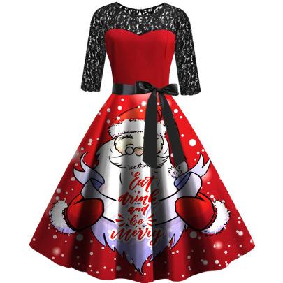 Autumn And Winter New Christmas Santa Claus Print Dress NSLAI56830