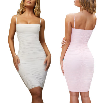 Hot Summer New Solid Color Sexy Suspender Dress NSLAI56836