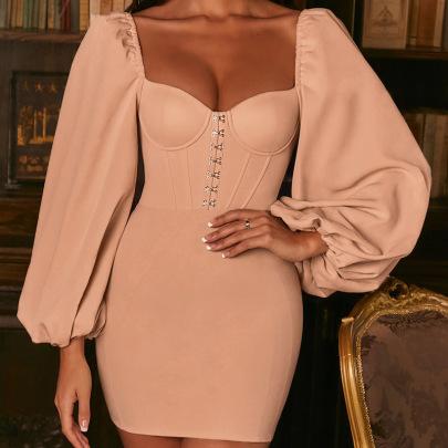 Spot Hot Style New Sexy Chiffon Long Sleeve Hip Skirt NSLAI56839