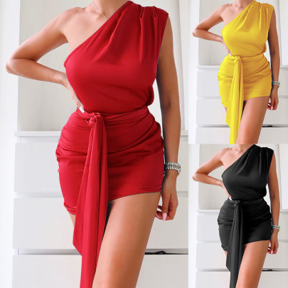 Spot Spring New Hot Style Fashion Solid Color One-shoulder Sexy Dress NSLAI56847