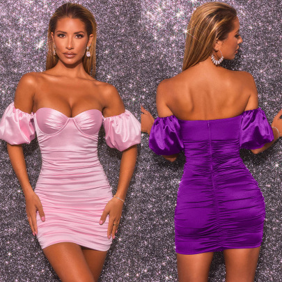 New Sexy Backless Wrapped Chest Hip Short-sleeved Slim Dress NSLAI56856