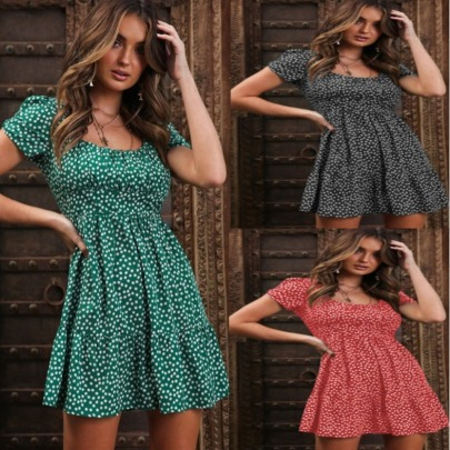 New Style Puff Sleeve Fashion Floral Fashion Dress NSYF56871