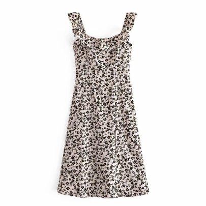 Retro Square Neck Floral Skirt Dress  NSAM56878