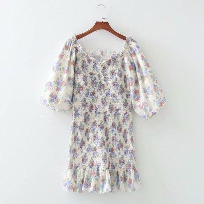 Spring Digital Lantern Sleeve Elastic Bag Hip Dress NSAM56888