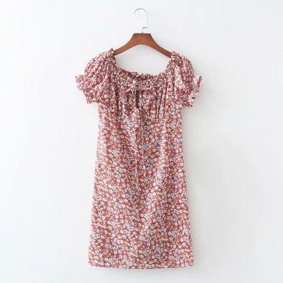 Watermark Off-shoulder Elastic Bag Hip Dress NSAM56891