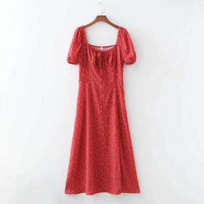 Multicolor Watermark Slit Long Skirt Dress NSAM56907