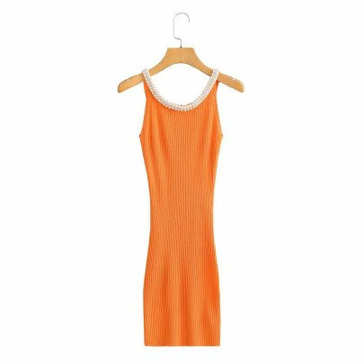Jewelry Inlaid Knitted Slim Suspender Dress NSAM56910