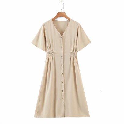 Spring Solid Color Waist Elastic Dress NSAM56914