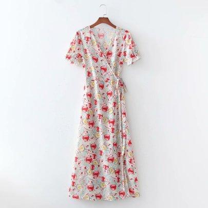Digital Wrap Skirt Long Dress NSAM56916