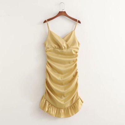 Spring Pleated Fishtail Skirt Suspender Dress NSAM56920