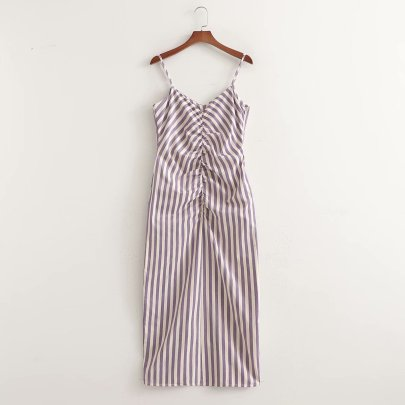 Spring Striped Pleated Slim Suspender Dress NSAM56921