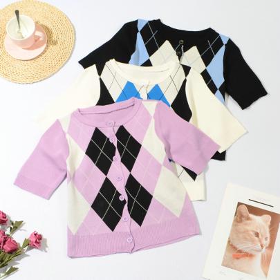 Classic Diamond Check Color Short Knit Cardigan NSYAY56969