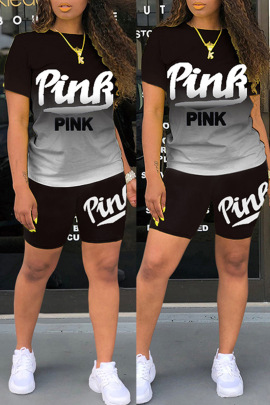Summer Letter Gradient Short-sleeved Shorts Set NSBTY56996