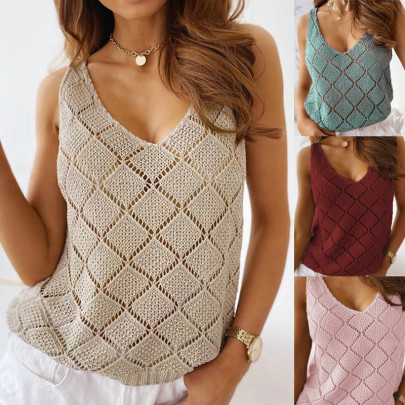 Summer New Diamond Hollow V-neck Sexy Solid Color Knitted Vest NSBTY57002