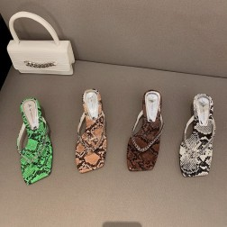 Summer New Fashion Mid-heel Square Toe Flip Flops NSHU57042