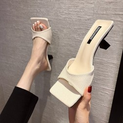 New Square Head One-word Summer Wear Thick Heel Open-toe Sandals NSZSC57055