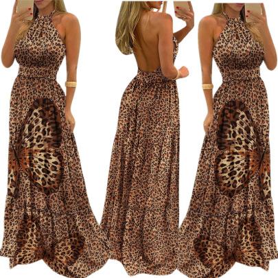 Butterfly Print Leopard Print Halter Neck Waist Dress NSAXE57057