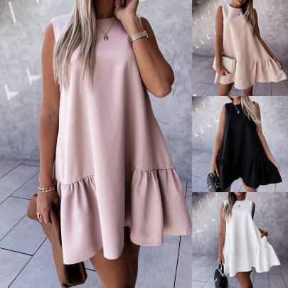 New Comfortable Pure Color Fashion Vest Dress NSAXE57059