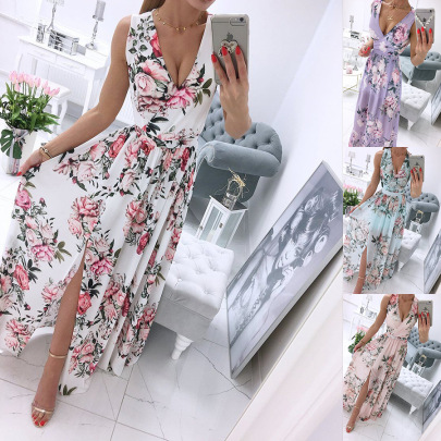 New Fashion Chiffon Print Long Slit Dress NSAXE57060