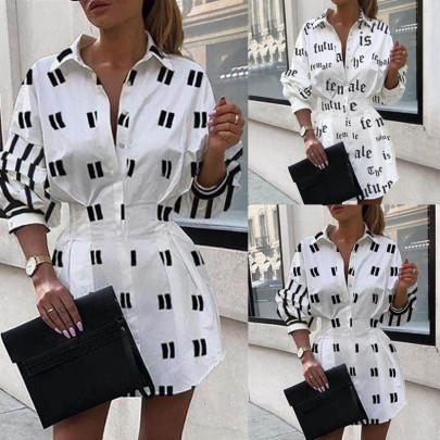 Fashion Printed Waist Shirt Lantern Sleeve Shirt NSAXE57061