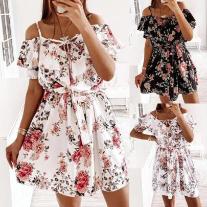 New Fashion Sling Print Waist Ruffles Dress NSAXE57063