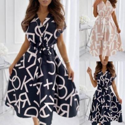 New Comfortable Fashion Letter Print Big Dress NSAXE57064