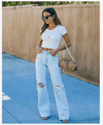 Summer New High-waisted Slim Fashion Ripped Loose Jeans NSYF57068
