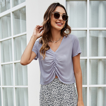 Summer Solid Color Chest Pleated Slimming Chiffon T-shirt  NSLM57073