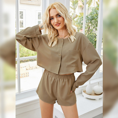 Long-sleeved Pullover Casual And Comfortable Thin Black Wide-leg Shorts Set NSLM57075
