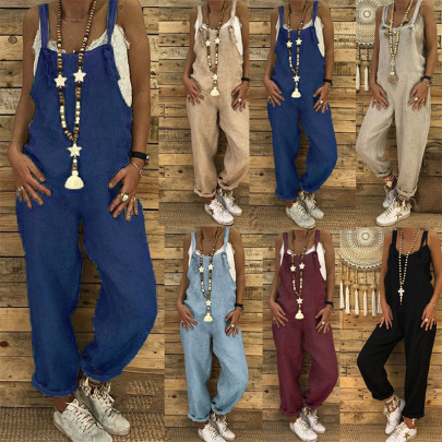 Spring And Summer New Fashion Casual Loose Suspenders Jumpsuit NSYIS57208