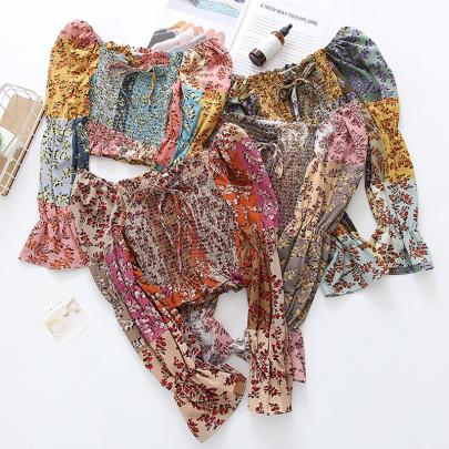 One-shoulder Short Cropped Chiffon Hit Color Retro Floral High Waist Shirt NSYID57144